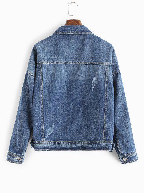 Klappentaschen Button Up Jeansjacke - Dunkles Schieferblau S Mobile
