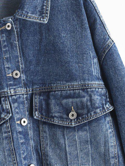 Giacca in Denim con Bottoni e Tasche con Patta - Blu  Ardesia Scura M Mobile
