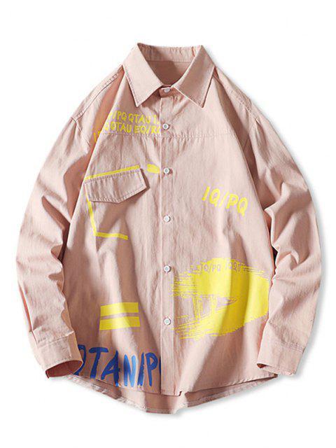 Botón de Estampado de La Letra del Bolsillo de Falso Camisa - Rosado 4XL Mobile