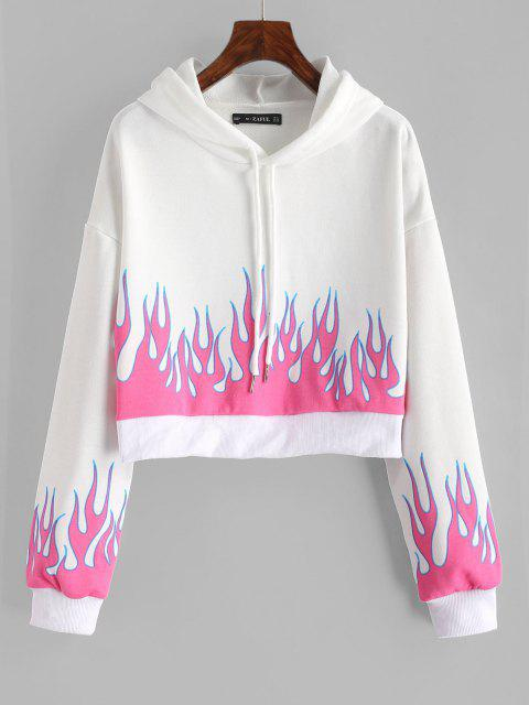 Drawstring Cropped Flame Print Hoodie - أبيض L Mobile
