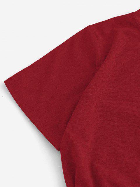 shop Overlap Tie Short Sleeve Tee Dress - RED M Mobile