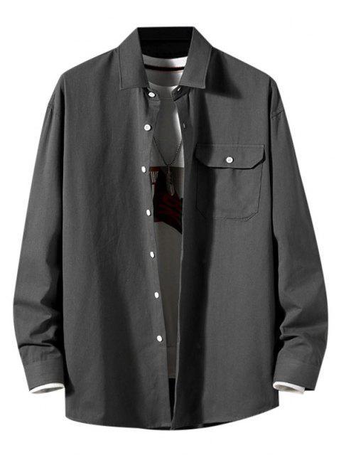 Camisa de Manga Larga con Parche de Bolsillo de Color Sólido - Gris Oscuro M Mobile