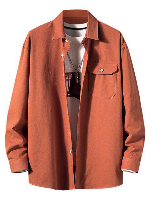 Camisa de Manga Larga con Parche de Bolsillo de Color Sólido - Caoba 2XL Mobile