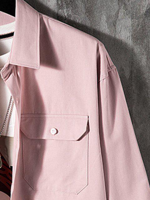 Camisa de Manga Larga con Parche de Bolsillo de Color Sólido - Rosado 3XL Mobile