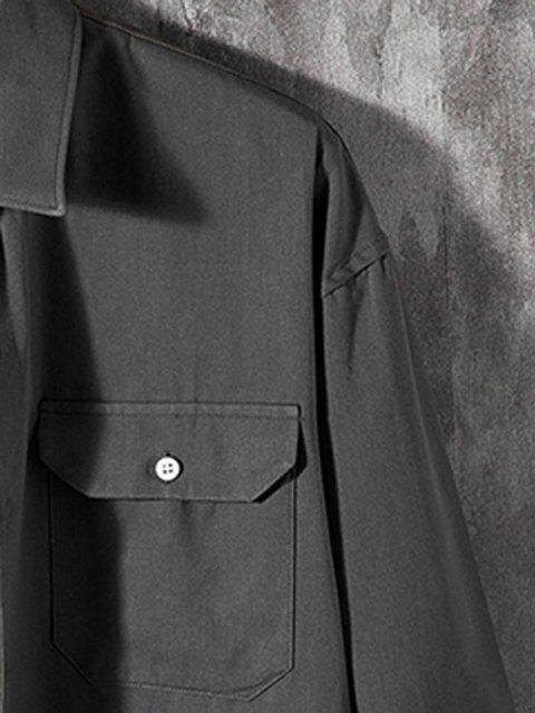 Camisa de Manga Larga con Parche de Bolsillo de Color Sólido - Gris Oscuro 2XL Mobile
