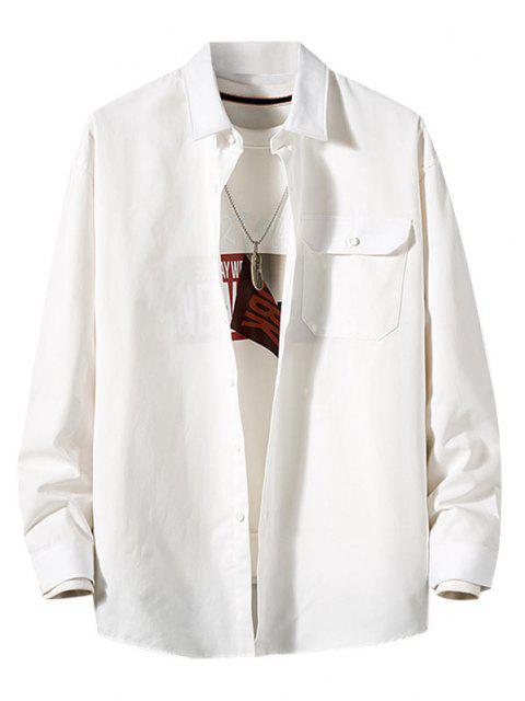Camisa de Manga Larga con Parche de Bolsillo de Color Sólido - Blanco M Mobile