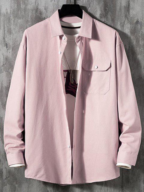 Camisa de Manga Larga con Parche de Bolsillo de Color Sólido - Rosado 4XL Mobile