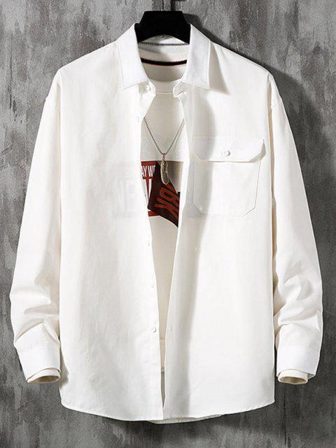 Chemise en Couleur Unie avec Poche à Rabat à Manches Longues - Blanc 3XL Mobile