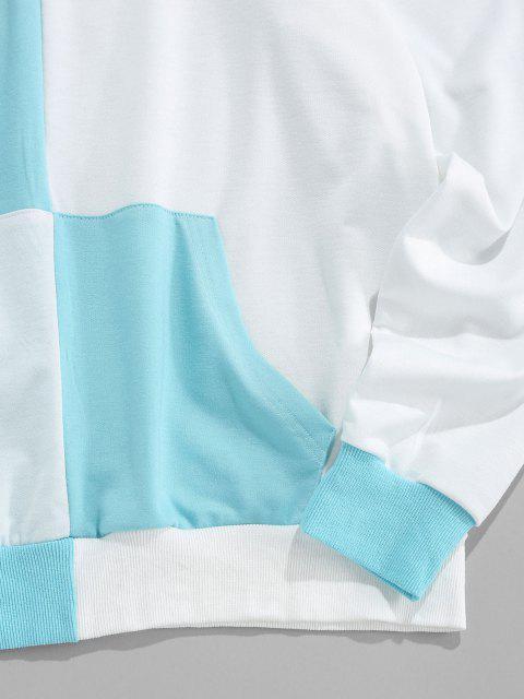 ZAFUL Buchstabe Druck Zweifarbiger Hoodie - Hellblau 2XL Mobile