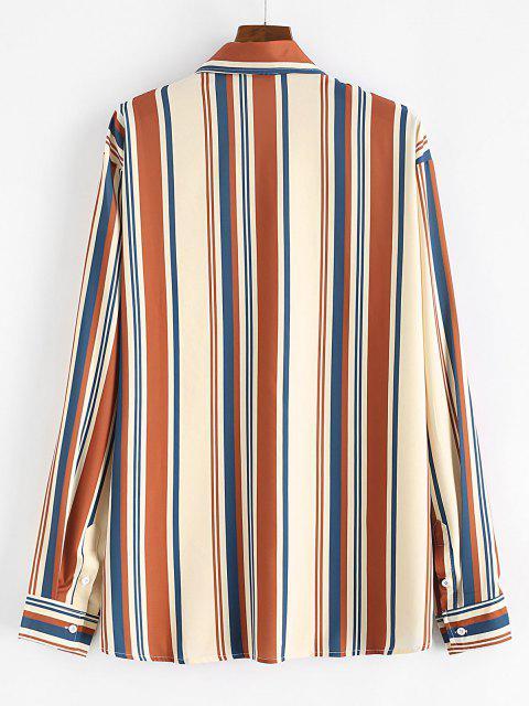 Camisa Estampado Rayas y Botones - Camel Marrón 2XL Mobile