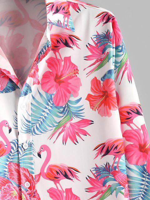 Camisa Manga Larga Estampado Floral Tropical Botones - Blanco XL Mobile