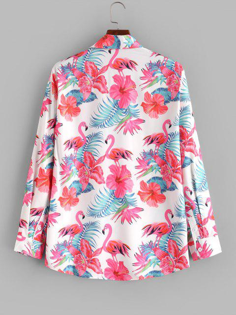 Tropical Flower Flamingo Print Button Up Shirt - حليب ابيض L Mobile