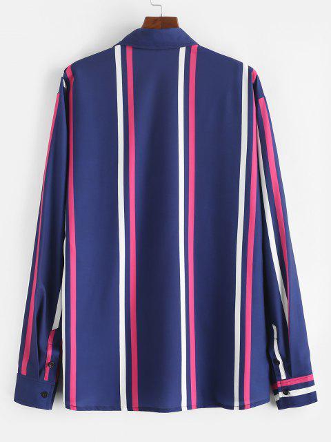 長袖縦縞ラウンジシャツ - ミッドナイトブルー M Mobile
