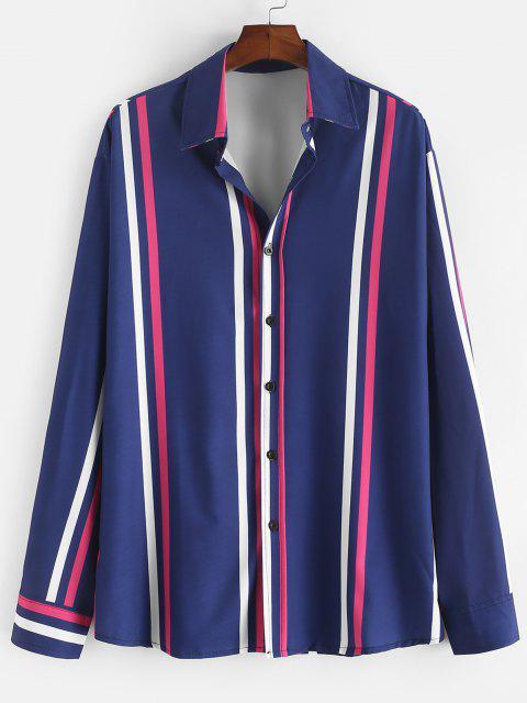 Long Sleeve Vertical Striped Lounge Shirt - منتصف الليل الأزرق XL Mobile