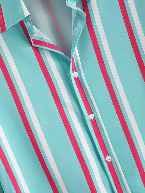 ChemiseDécontractéeà RayureVerticaleà Manches Longues - Bleu Cristal S Mobile