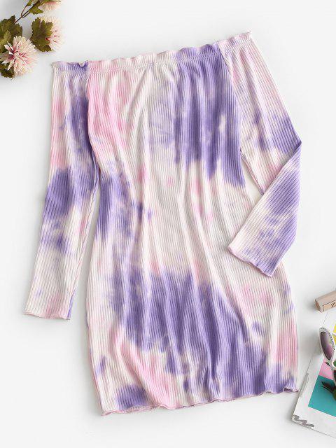 women Off Shoulder Ribbed Tie Dye Long Sleeve Dress - LIGHT PURPLE S Mobile