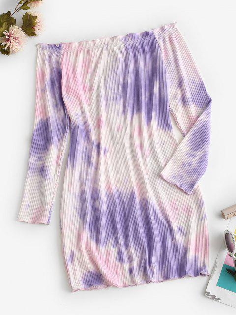 Off Shoulder Ribbed Tie Dye Long Sleeve Dress - ضوء ارجواني M Mobile