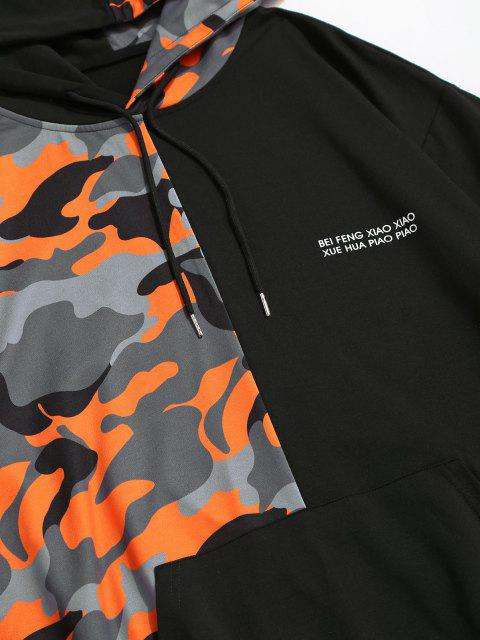 affordable ZAFUL Camouflage Panel Letter Graphic Hoodie - BLACK 2XL Mobile