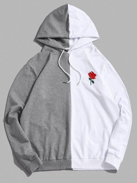 ZAFUL Bicolor Blumen Stickerei Lässige Tunnelzug Hoodie - Weiß L Mobile