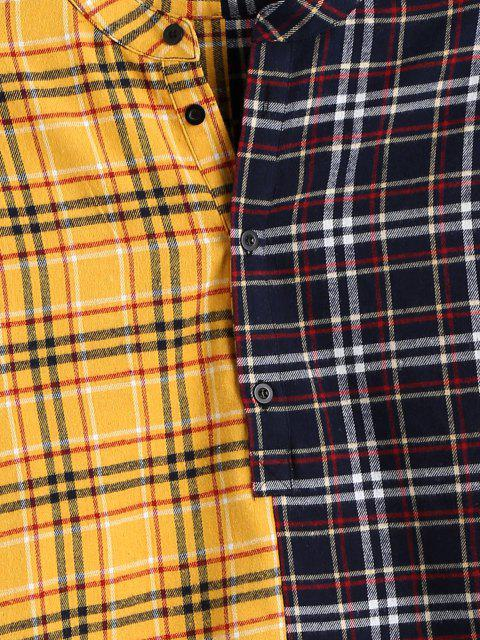 chic Color Blocking Panel Plaid Long Sleeve Shirt - YELLOW XL Mobile