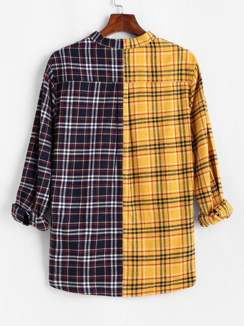 fancy Color Blocking Panel Plaid Long Sleeve Shirt - YELLOW M Mobile