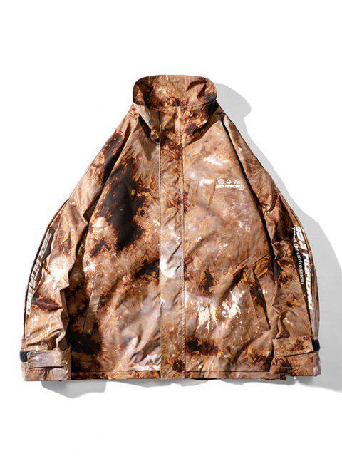 Veste Bouclée Teintée Lettre Imprimée à Cordon - ACU Camouflage L Mobile