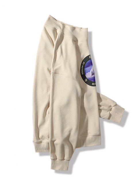 hot Sea Bear Letter Graphic Print Mock Neck Sweatshirt - BEIGE 3XL Mobile