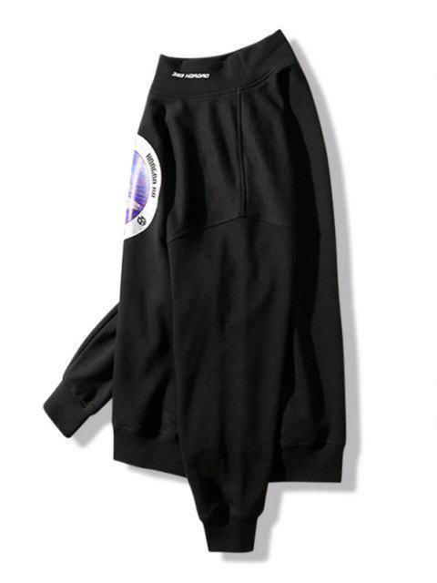 unique Sea Bear Letter Graphic Print Mock Neck Sweatshirt - BLACK M Mobile