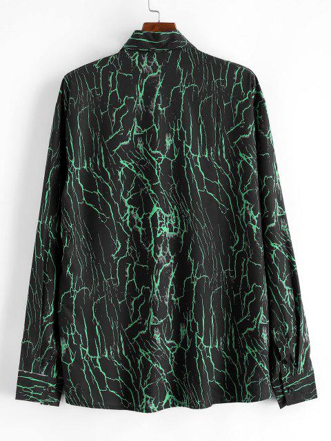 lady Lines Print Button Up Shirt - DEEP GREEN S Mobile
