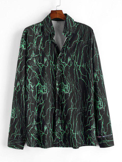 ladies Lines Print Button Up Shirt - DEEP GREEN 2XL Mobile