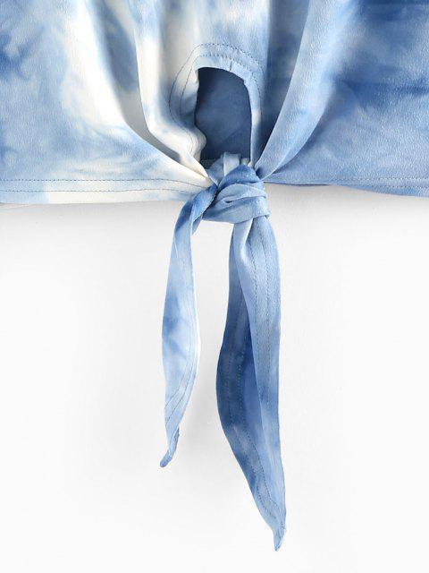 ZAFUL Tee de Gravata Tingida Frontal Cortado - Azul Denim S Mobile
