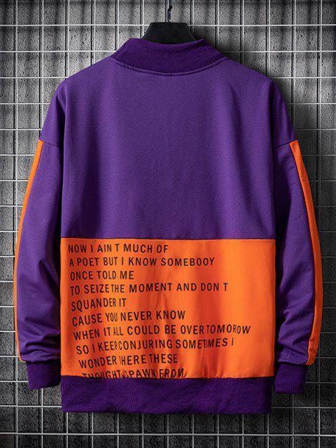 Sweatshirt Lettre Graphique en Blocs de Couleurs à Goutte Epaule - Iris Pourpre XL Mobile