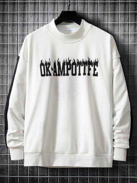 hot Colorblock Letter Graphic Drop Shoulder Sweatshirt - WHITE M Mobile