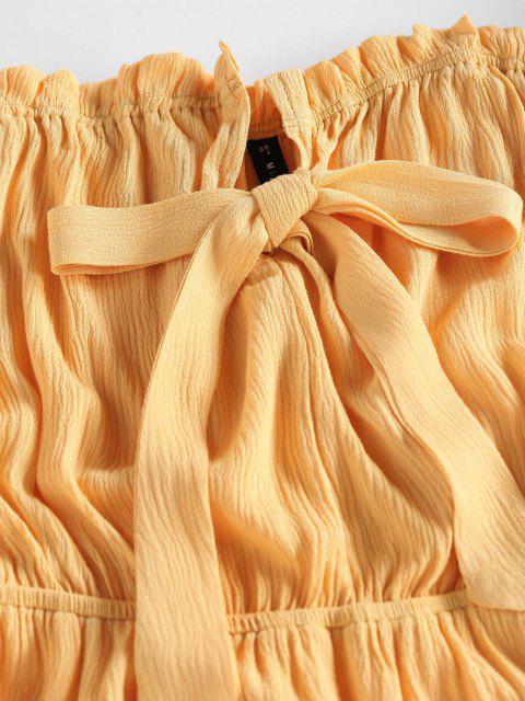 latest ZAFUL Off Shoulder Bowknot Ruffle Dress - YELLOW XL Mobile