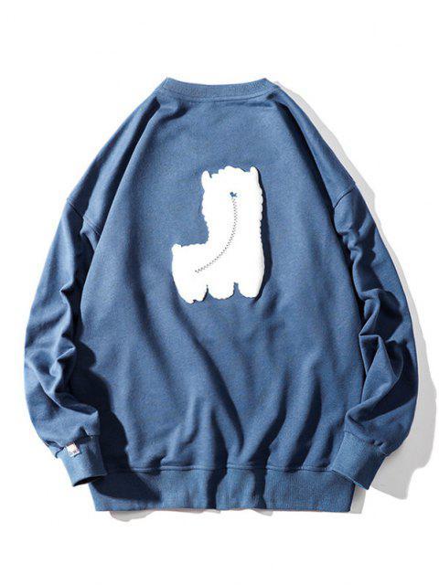 Sweat-shirt Motif de Mouton à Goutte Epaule - Bleu 3XL Mobile