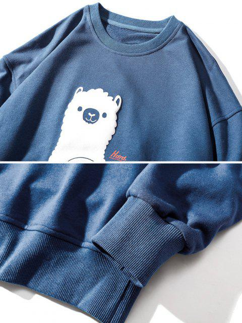buy Sheep Pattern Drop Shoulder Sweatshirt - BLUE M Mobile