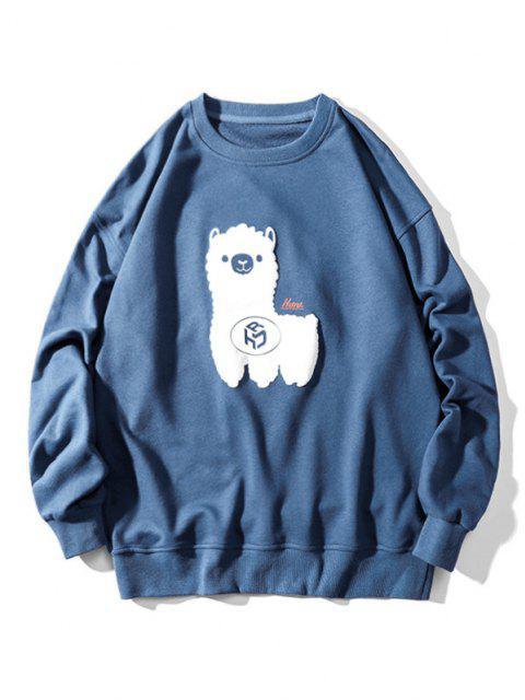 Sheep Pattern Drop Shoulder Sweatshirt - أزرق M Mobile