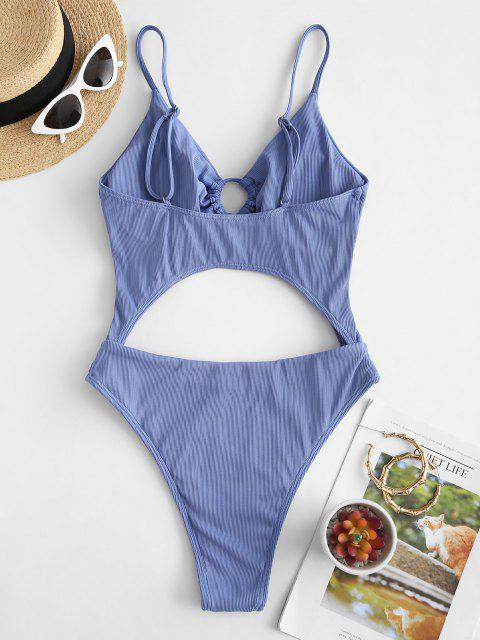 latest ZAFUL Ribbed Tie Cut Out One-piece Swimsuit - LIGHT BLUE S Mobile