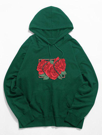 Rose Floral Graphic Drawstring Pouch Pocket Hoodie - Deep Green 2xl