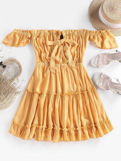 ZAFUL Schulterfreies Kleid Mit Bowknot Rüschen - Gelb L