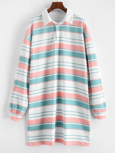 Striped Shift Sweatshirt Dress - Multi L
