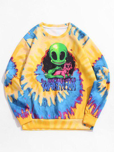 Tie Dye ET Cat Print Pullover Sweatshirt - Bright Yellow 3xl