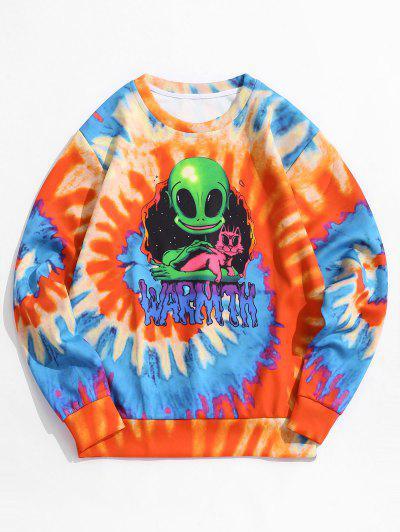 Tie Dye ET Cat Print Pullover Sweatshirt - Papaya Orange 3xl