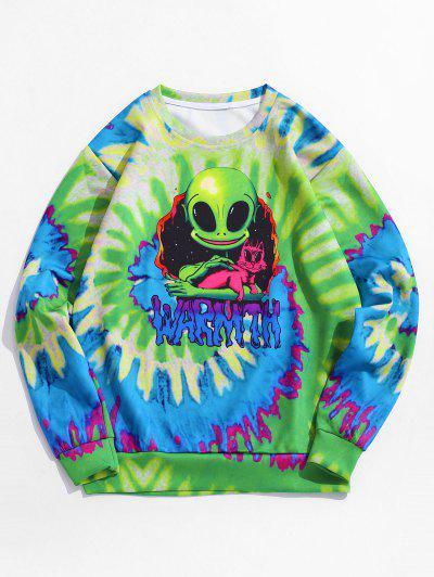 Tie Dye ET Cat Print Pullover Sweatshirt - Green M