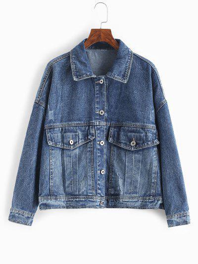 Flap Pockets Button Up Denim Jacket - Dark Slate Blue L