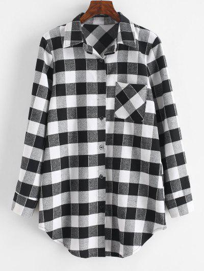Plaid Flannel Chest Pocket Shirt Dress - Black M