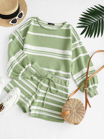 Striped Knit Two Piece Shorts Set - Green M