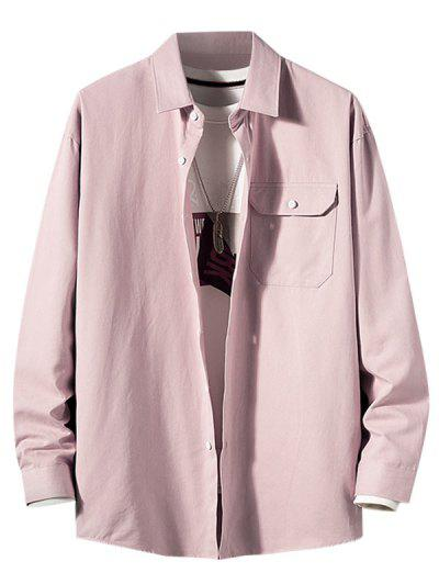 Solid Flap Pocket Patch Long Sleeve Shirt - Pink 2xl