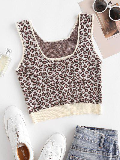 Cropped Leopard Knitted Tank Top - Multi S