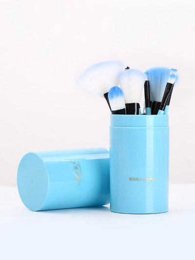 12Pcs Portable Ombre Makeup Brush Set - Sky Blue